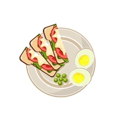 Morning Hot Sandwiches and Eggs Served Food vector