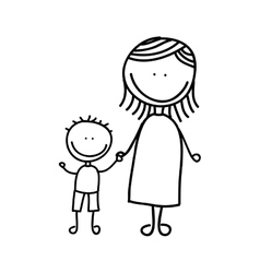 mother with son drawing isolated icon design vector image