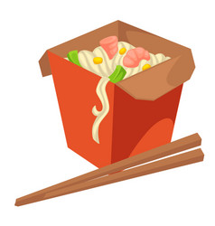 Noodles asian food in package with chopsticks vector