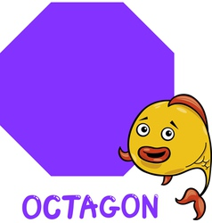 Octagon shape with cartoon fish vector