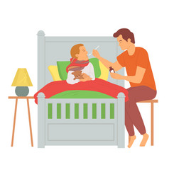 Parent caring ill child dad and son vector