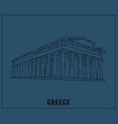 parthenon greecehand drawn sketch vector image
