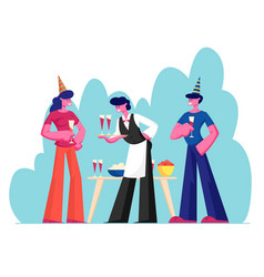 people celebrating party man and woman wearing vector image