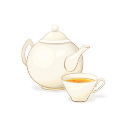 porcelain teapot and tea cup with tea isolated vector image