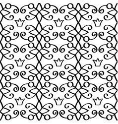 Princess linear black pattern with crowns vector