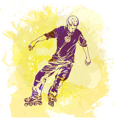 roller skating grunge trend handcrafted splash vector image