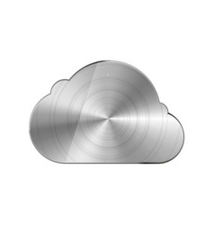round polished bright glossy metal cloud icon vector image