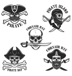 set emblems with pirate skulls and weapon vector image