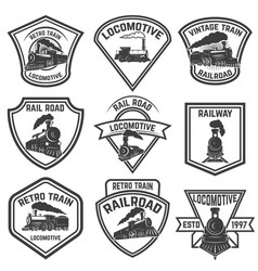 Set emblems with vintage trains isolated on vector