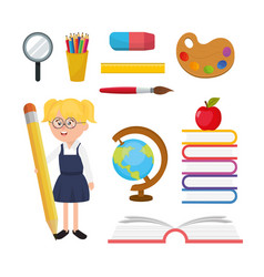 set girl student with education school utensils vector image