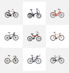Set of bicycle realistic symbols with triathlon vector
