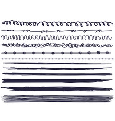 set of paint ink brush strokes hand made vector image