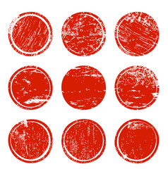 Set of red grunge texture circles vector
