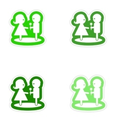 Set paper stickers on white background boy gives vector