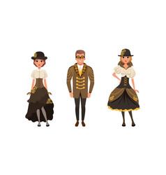 set stylish people wearing retro steampunk vector image