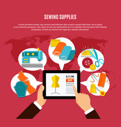 Sewing supplies concept vector