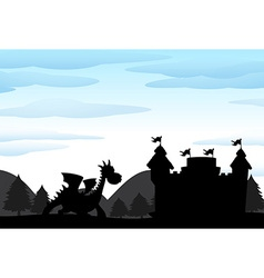 Silhouette scene of castle and dragon vector image