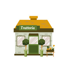 Small trattoria building exterior isolated on vector