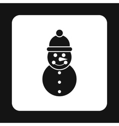 Snowman icon in simple style vector image