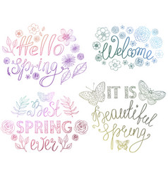 spring hand drawn lettering design with floral vector image