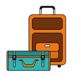 Suitcases travel vacations icons vector
