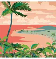 Sunset Tropic Beach with Palm trees vector