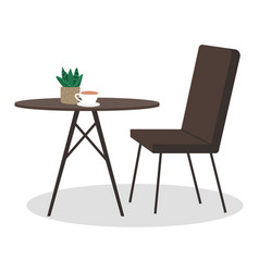 table with coffee and houseplant interior vector image