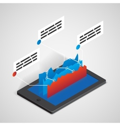 Tablet PC with chart business concept vector