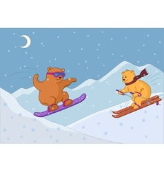 Teddy bears ski in mountains night vector image