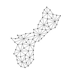 Territory of guam map of polygonal mosaic lines vector