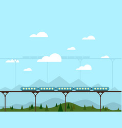 train on a bridge vector image