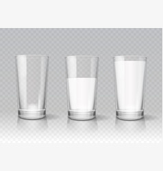 Transparent realistic glasses of milk vector