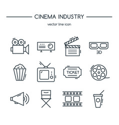 tv industry icons line set vector image