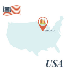 Usa map with chicago pin travel concept vector