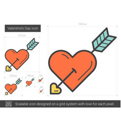 Valentine day line icon vector