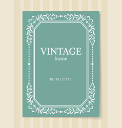 Vintage frame retro style decorative foliage vector
