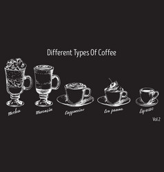 Vintage hand drawn coffee types set vector