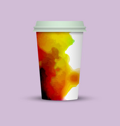 Watercolor splashes on coffee cup vector