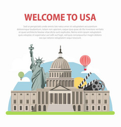welcome to usa travel poster for america tourism vector image