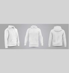 white mens hooded sweatshirt mockup vector image