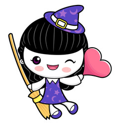 Witch character is holding a broom and heart vector