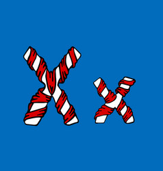 Wrapped in a ribbon letter x blue and red letter vector