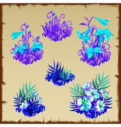 Big set fancy blue fairy flowers six items vector image