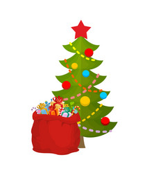 christmas tree and bag santa claus with gifts red vector image vector image