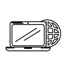 laptop computer with planet vector image vector image