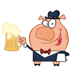 Waiter Pig With Beer vector image vector image