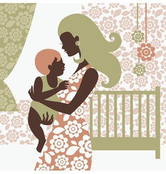 Beautiful mother silhouette with baby vector image