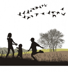 children in the autumn country vector image