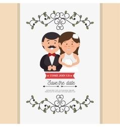 cute cartoon bride groom weddign card design vector image