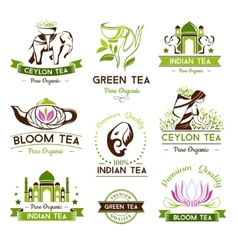 Green ceylon and bloom tea emblems vector image vector image